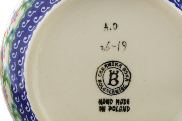 "Polish Pottery Bowl 7"" Spring Flowers Theme"