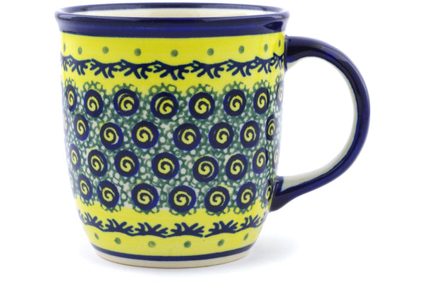 Polish Pottery Mug 12 oz Peacock Bumble Bee Theme