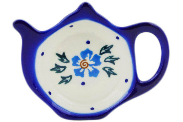"Polish Pottery Tea Bag or Lemon Plate 4"" Blue Cornflower Theme"