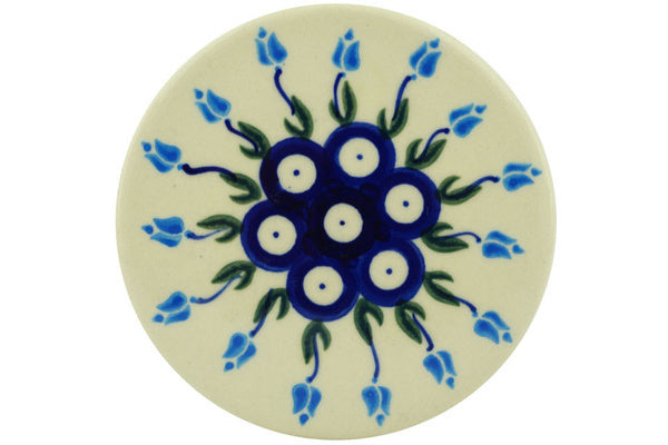 "Polish Pottery Coaster 3"" Peacock Tulip Garden Theme"