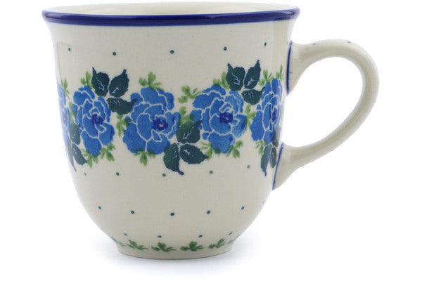 Polish Pottery Mug 10 oz Blue Garland Theme