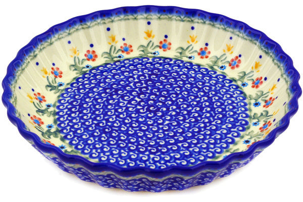 "Polish Pottery Fluted Pie Dish 10"" Spring Flowers Theme"