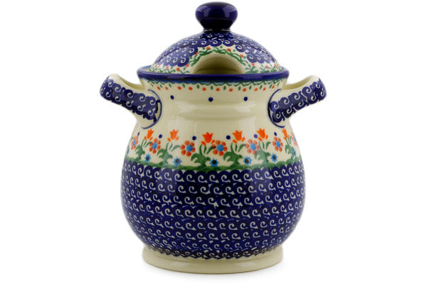 "Polish Pottery Jar with Lid and Handles 8"" Spring Flowers Theme"
