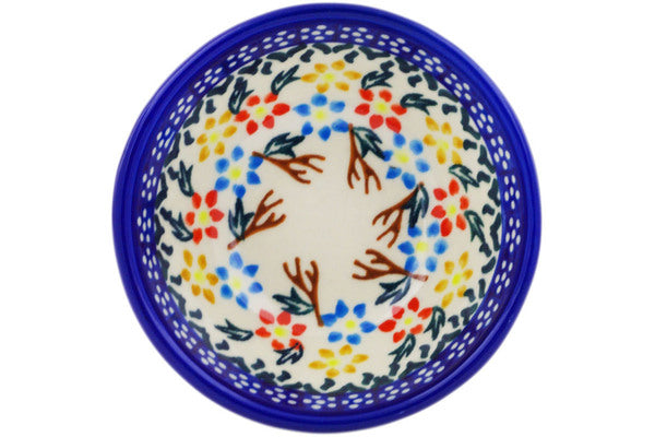 "Polish Pottery Bowl 4"" Spring Flower Ring Theme"