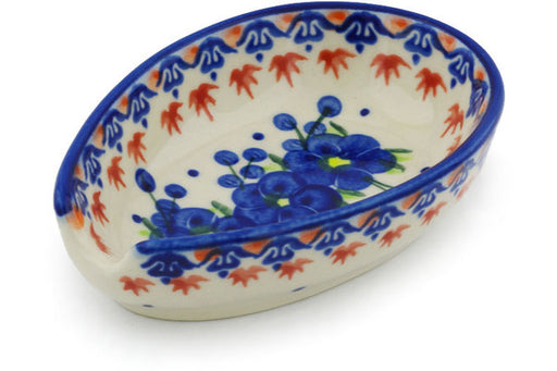 "Polish Pottery Spoon Rest 5"" Passion Poppy Theme"