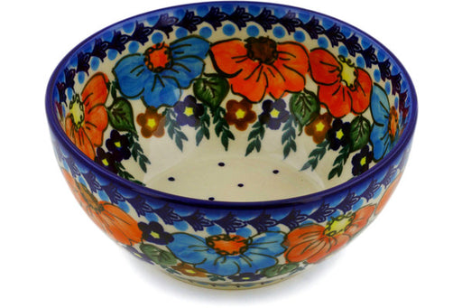 "Polish Pottery Bowl 6"" Bold Poppies Theme UNIKAT"