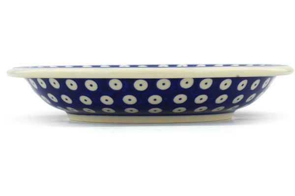 "Polish Pottery Pasta Bowl 9"" Blue Eyed Peacock Theme"