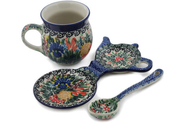 Polish Pottery mug w/spoon w/tea bag lemon plate Iris Bouquet Theme UNIKAT