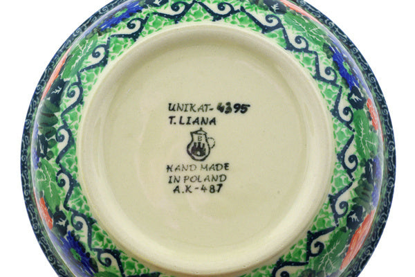 "Polish Pottery Bowl 6"" Bleu Jay Meadow Theme UNIKAT"