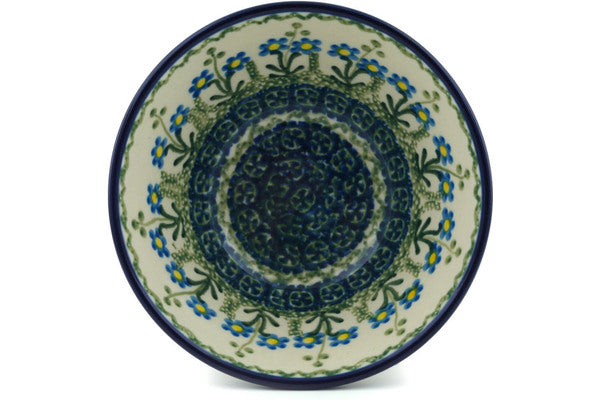 "Polish Pottery Bowl 5"" Blue Daisy Circle Theme"