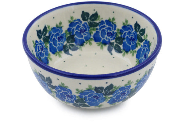 "Polish Pottery Bowl 5"" Blue Garland Theme"