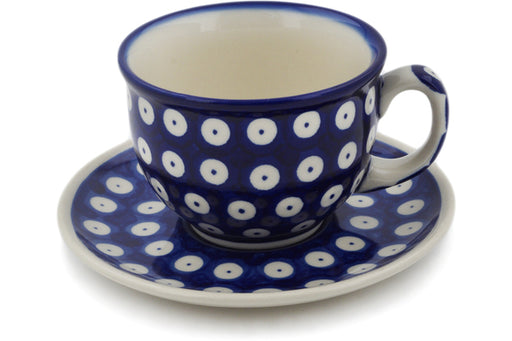 Polish Pottery cup w/saucer Blue Eyed Peacock Theme