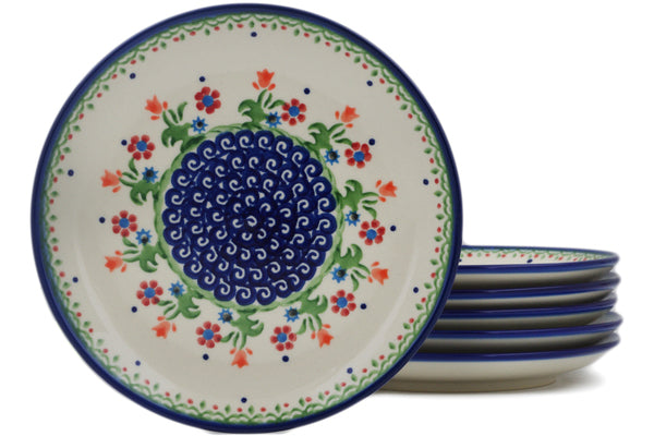 Polish Pottery plates set of 6 Spring Flowers Theme