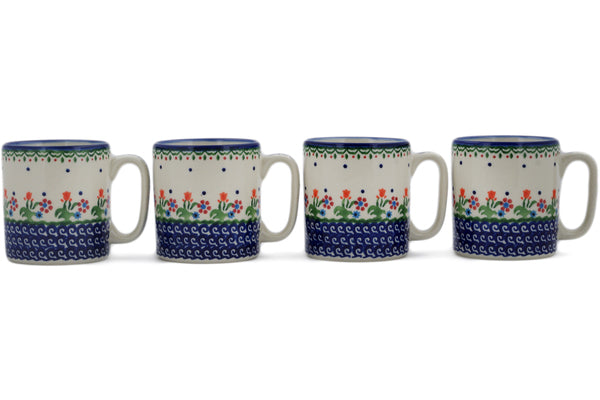 Polish Pottery mug set of 4 Spring Flowers Theme