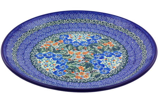 Polish Pottery Dinner Plate 10½-inch Blue Star Flowers Theme UNIKAT
