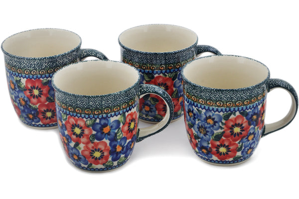 Polish Pottery mug set of 4 Blue And Red Poppies Theme UNIKAT