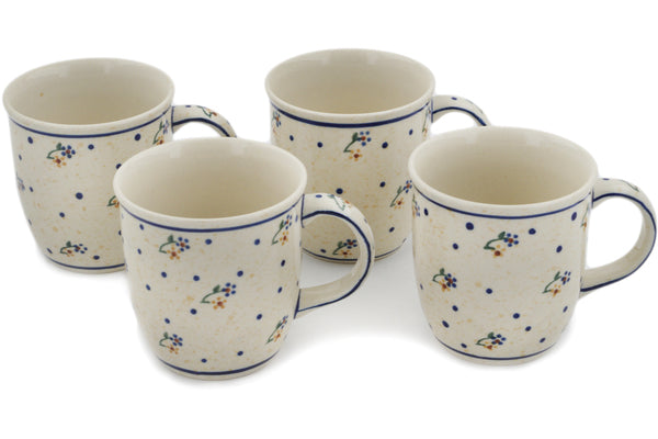 Polish Pottery mug set of 4 Country Meadow Theme