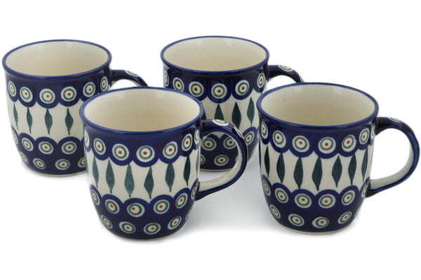 Polish Pottery mug set of 4 Peacock Leaves Theme