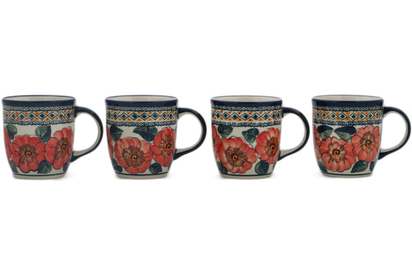 Polish Pottery mug set of 4 Peach Poppies Theme UNIKAT