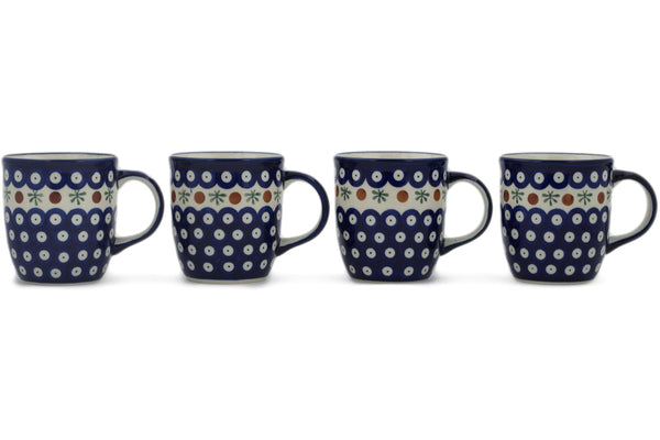 Polish Pottery mug set of 4 Mosquito Theme