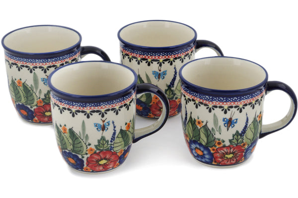 Polish Pottery mug set of 4 Spring Splendor Theme UNIKAT