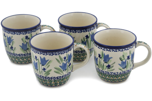 Polish Pottery mug set of 4 Tulip Fields Theme UNIKAT