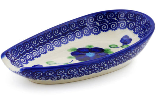 "Polish Pottery Spoon Rest 5"" Blue Poppies Theme"