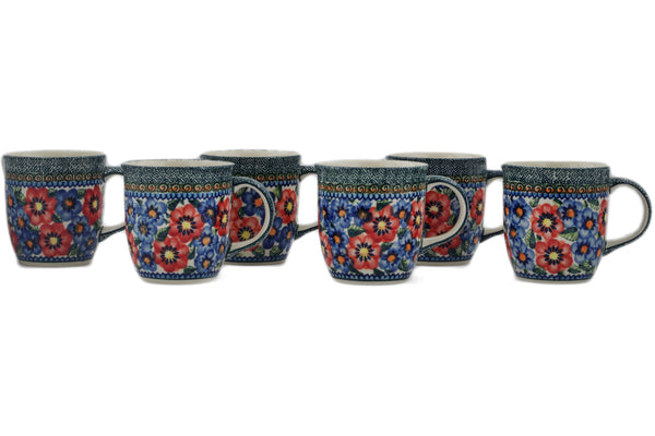 Polish Pottery mug set of 6 Blue And Red Poppies Theme UNIKAT