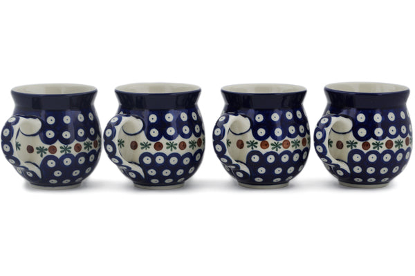 Polish Pottery Set of Four 12oz Bubble Mugs Mosquito Theme