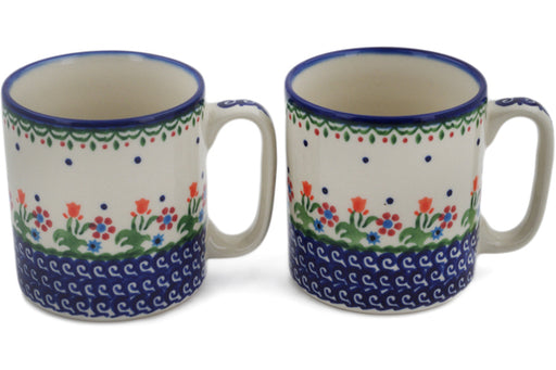 Polish Pottery mug set of 2 Spring Flowers Theme