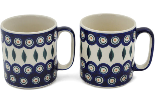 Polish Pottery mug set of 2 Peacock Theme
