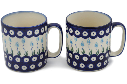 Polish Pottery mug set of 2 Peacock Tulip Garden Theme