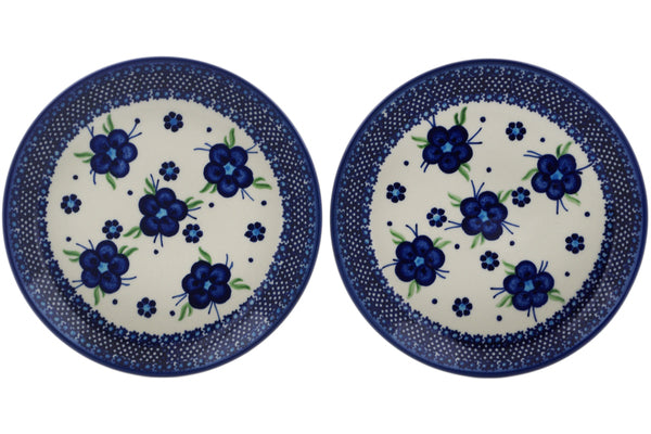 Polish Pottery plates set of 2 Bleu-belle Fleur Theme