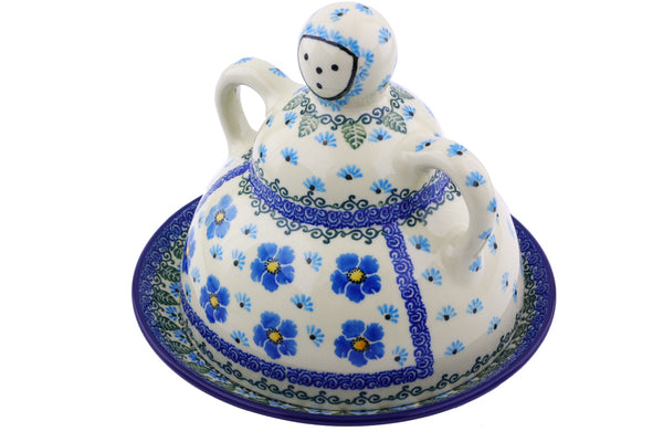 "Polish Pottery Cheese Lady 8"" Forget Me Not Theme"