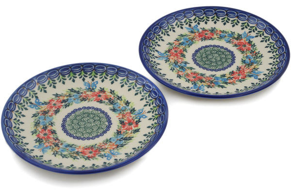 Polish Pottery plates set of 2 Ring Of Flowers Theme UNIKAT