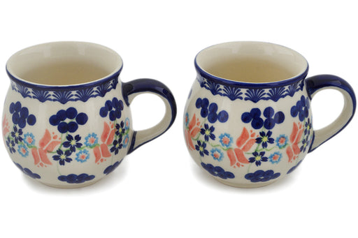 Polish Pottery mug set of 2 Tulip Berries Theme