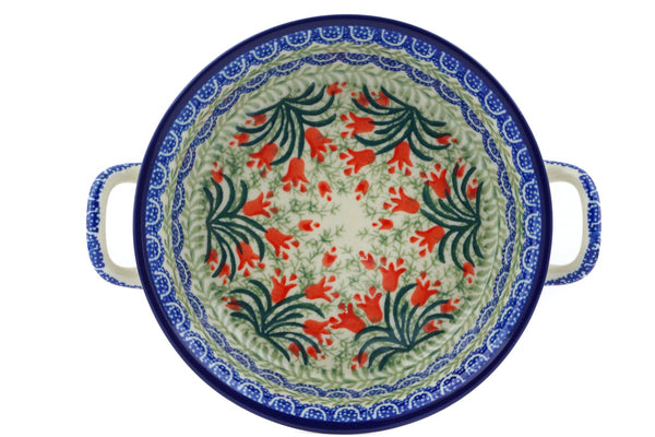 Polish Pottery Round Baker with Handles 6½-inch Crimson Bells Theme