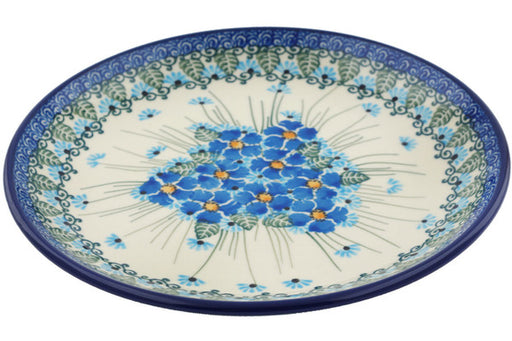 "Polish Pottery Plate 8"" Forget Me Not Theme"