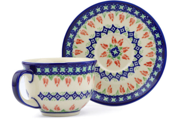 Polish Pottery cup w/saucer Tulips And Diamonds Theme