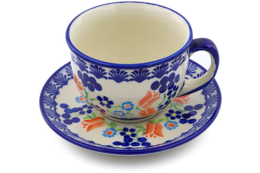 Polish Pottery cup w/saucer Tulip Berries Theme