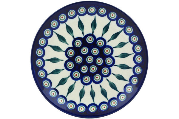 "Polish Pottery Plate 7"" Peacock Leaves Theme"