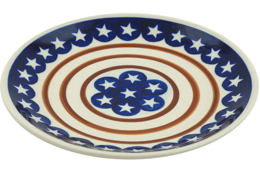 "Polish Pottery Plate 7"" Stars And Stripes Forever Theme"