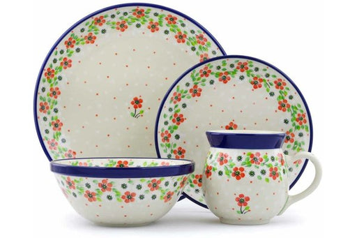 Polish Pottery 4-Piece Place Setting Simple Scarlet Theme