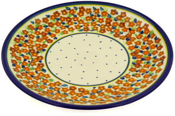 "Polish Pottery Plate 7"" Russett Floral Theme"