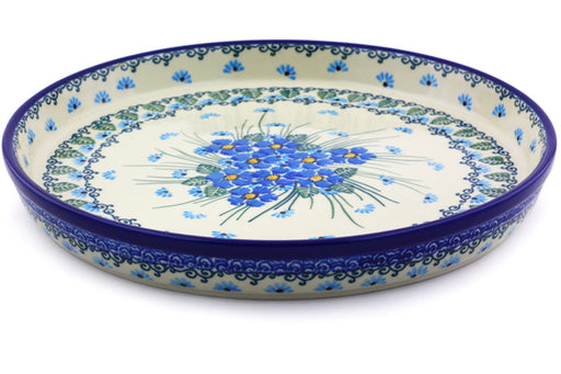 "Polish Pottery Cookie Platter 10"" Forget Me Not Theme"