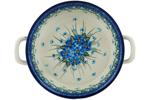 Polish Pottery Round Baker with Handles Medium Forget Me Not Theme