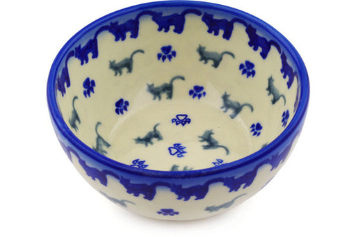 "Polish Pottery Bowl 5"" Boo Boo Kitty Paws Theme"