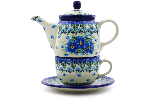 Polish Pottery Tea Set for One 17 oz Forget Me Not Theme