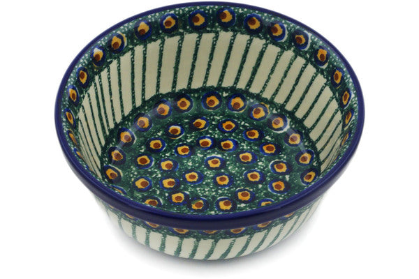 "Polish Pottery Bowl 6"" Emerald Peacock Theme"