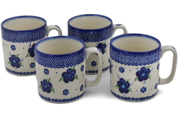 Polish Pottery mug set of 4 Bleu-belle Fleur Theme